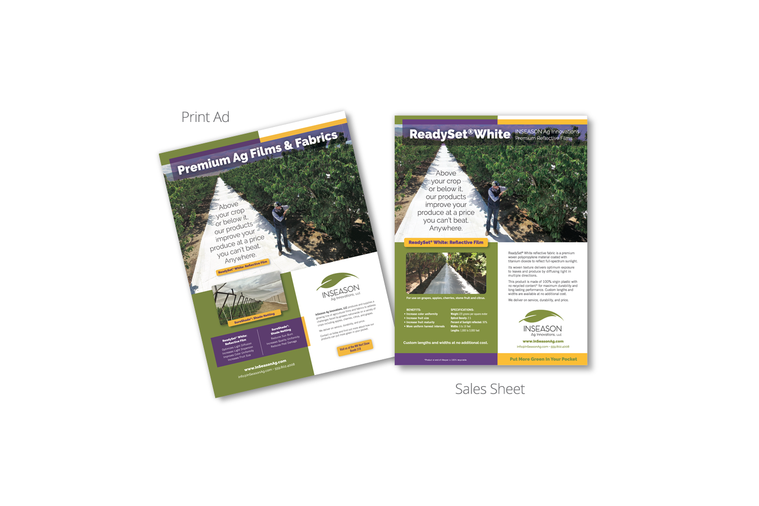 DMI Agency designs InSeason Ag print ad and sales sheet