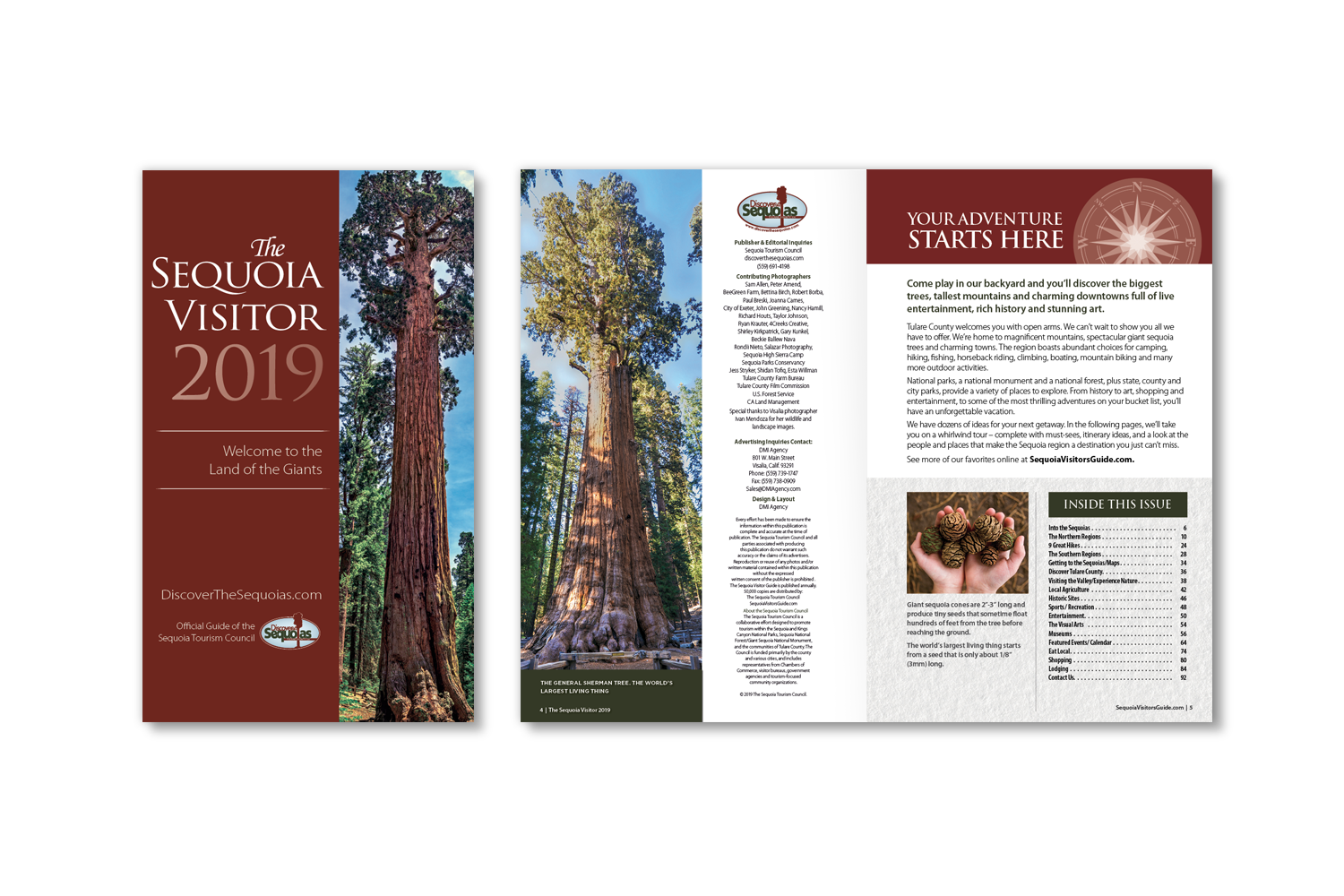 DMI Agency, design and production of Sequoia Visitors Guide 2019