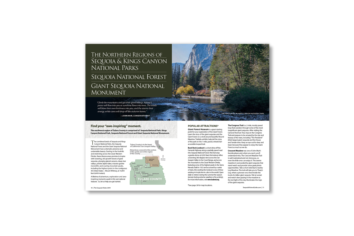 DMI Agency, design and production of Sequoia Visitors Guide_inside pages