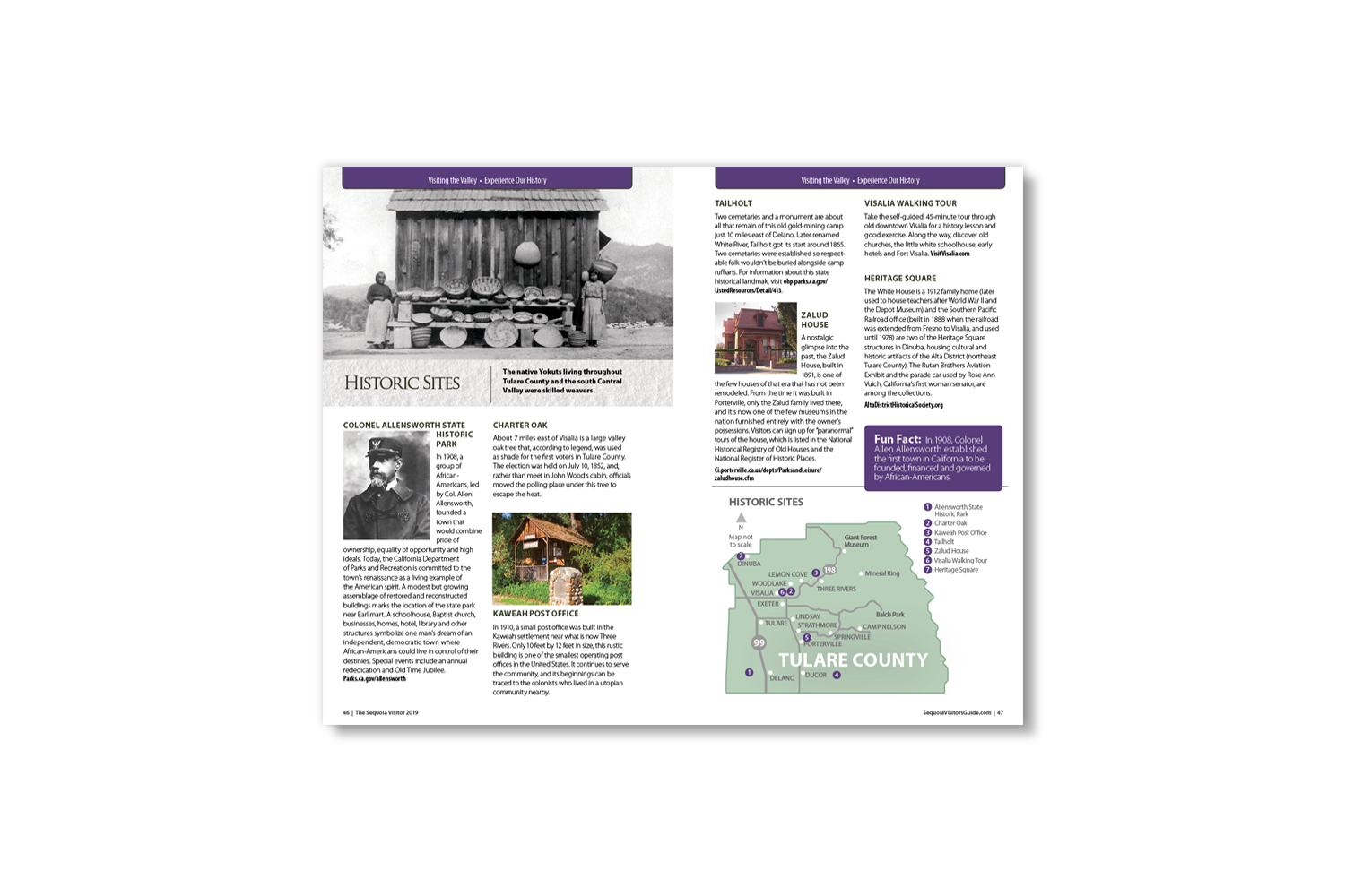 DMI Agency, design and production of Sequoia Visitors Guide_historic sites