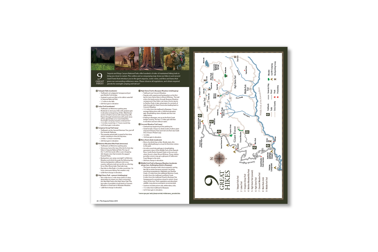 Sequoia Visitors Guide_9 great hikes, created by DMI Agency