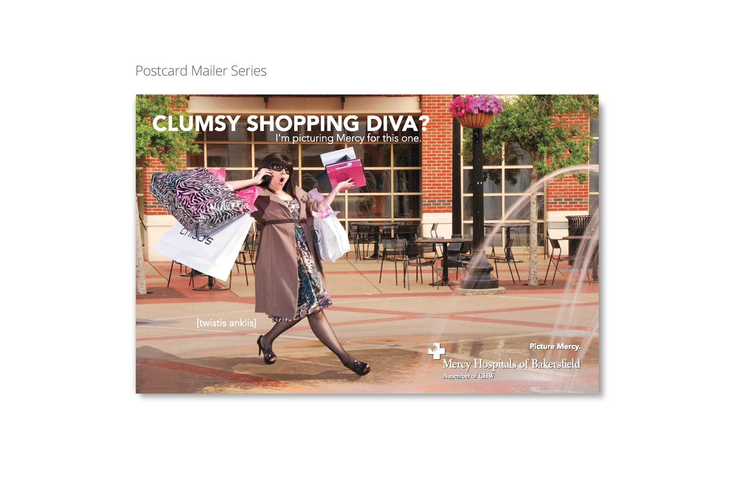 Mercy ER postcard campaign by DMI Agency, Visalia, CA - Shopping Diva