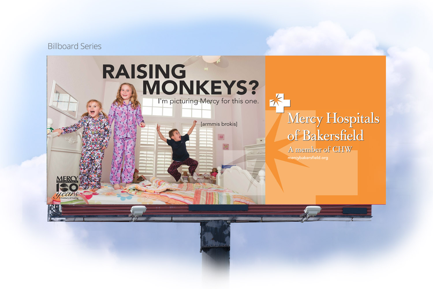 Mercy ER billboard campaign by DMI Agency, Visalia, CA - Monkeys