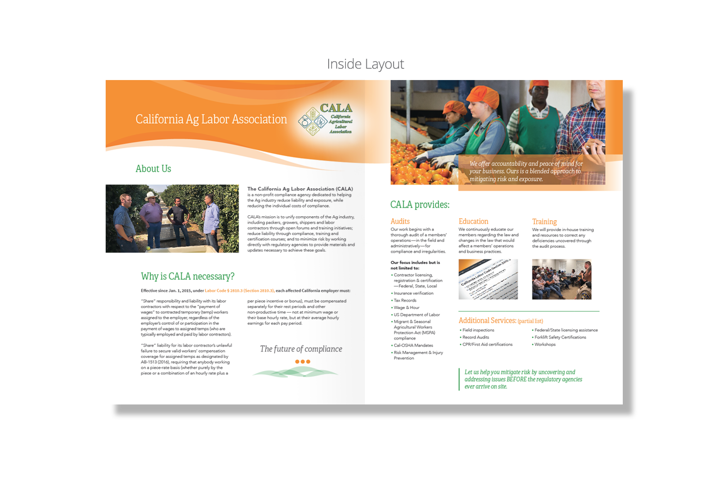 California Agricultural Labor Association Brochure - Inside Layout