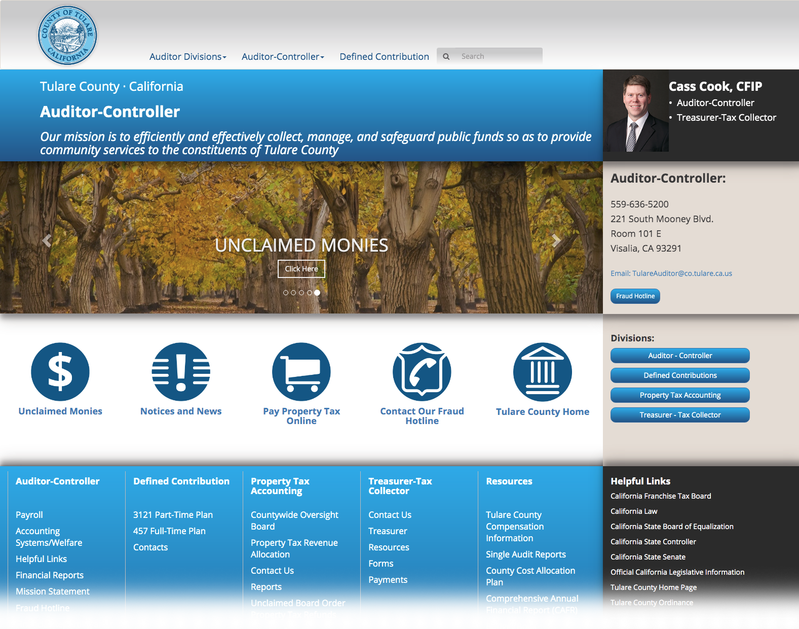 DMI Agency branding for Tulare County Auditor-Controller website