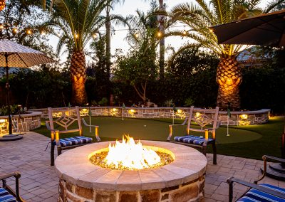 Home Photography, Marketing, outdoor space, fire pit, night