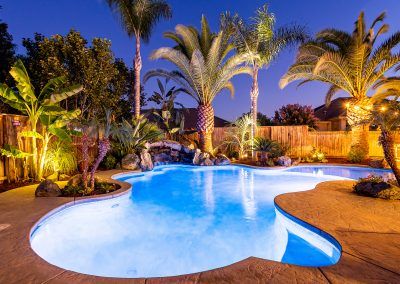 Residential Marketing Photography_Pool, Palms, Nighttime