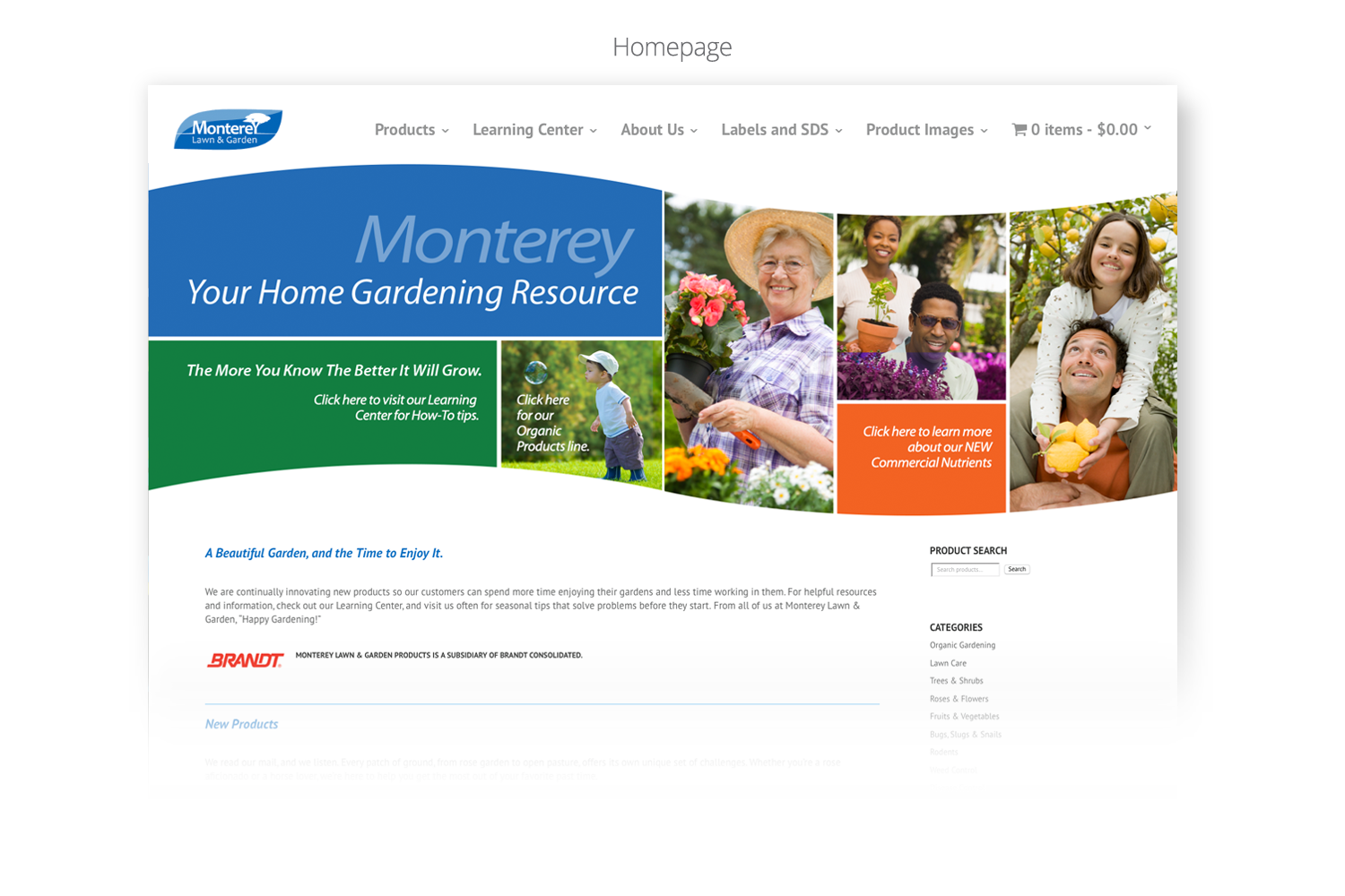 DMI Agency design for Monterey Lawn Garden website - Homepage