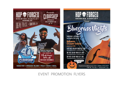 Hop Forged Brewing Company – Promotional_Event Flyers for Fall Music Events
