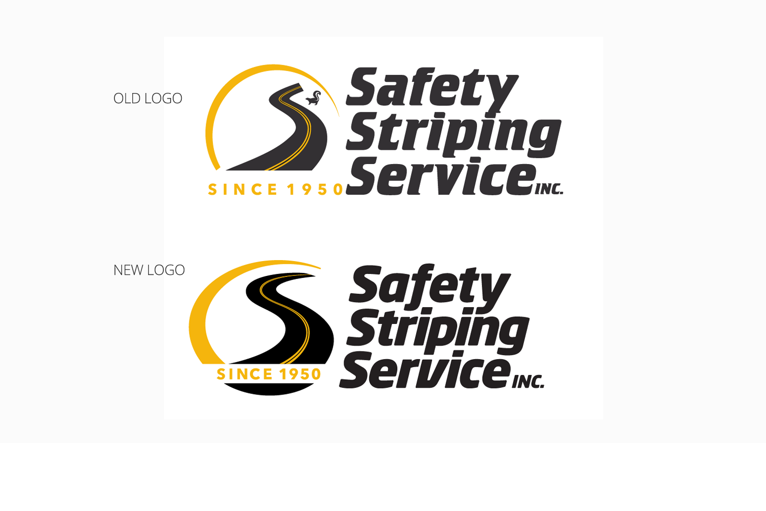 Safety Striping Service comparison of old logo with updated version by DMI_branding update and new website