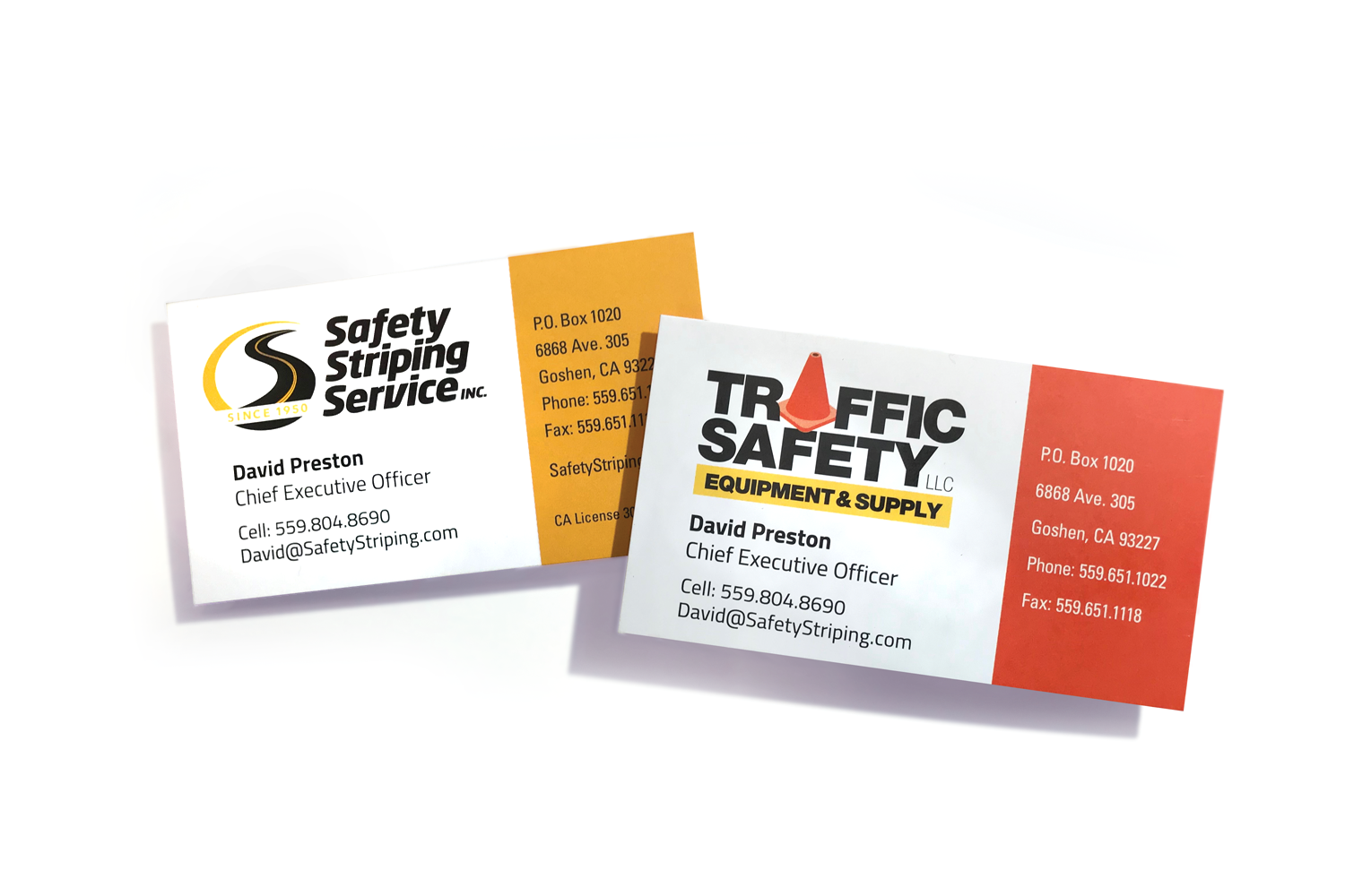 Safety Striping Service and Traffic Safety Equipment Supply business cards designed by DMI Agency_branding update and new website