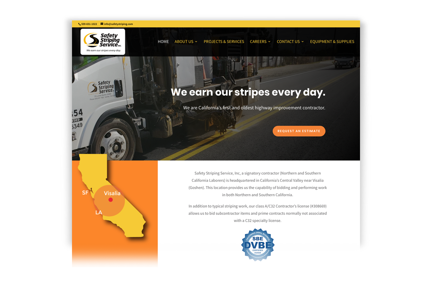 Safety Striping Service Website, Homepage designed by DMI Agency_branding update and new website