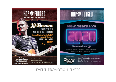 Hop Forged Brewing Company – Promotional_Event Flyers for JJ Brown and New Years