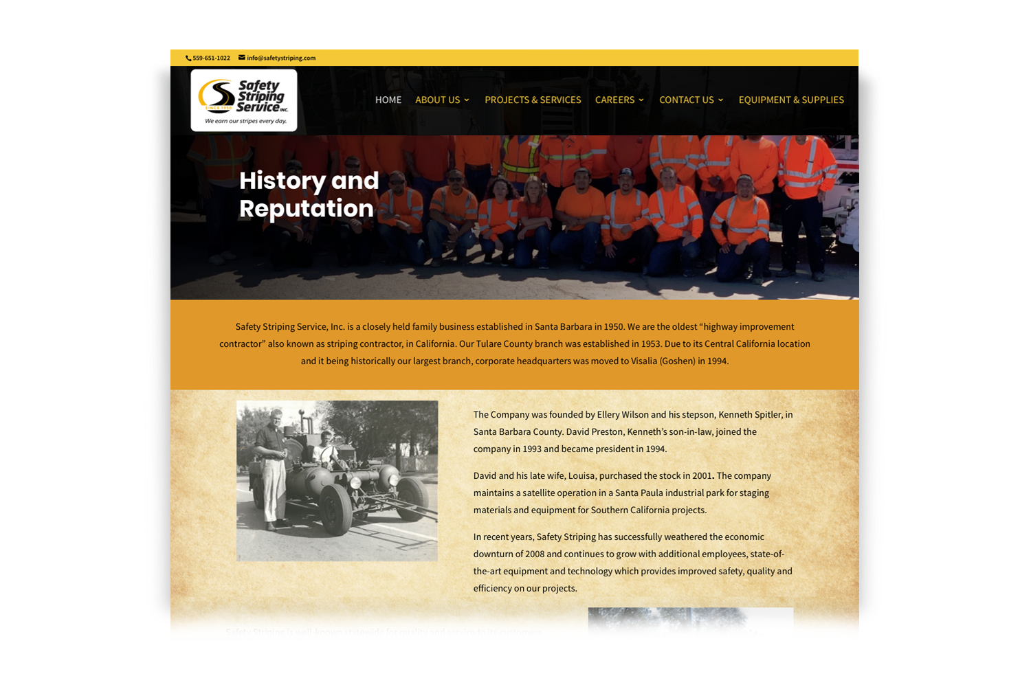 Safety Striping Service Website, History page designed by DMI Agency_branding update and new website