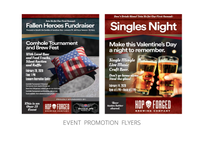 Hop Forged Brewing Company – Promotional_Event Flyers for Fallen Heroes and Singles Night Events