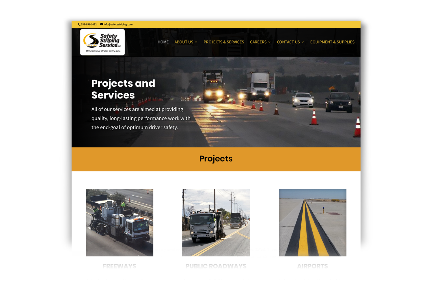 Safety Striping Service Website, Projects page by DMI Agency_branding update and new website