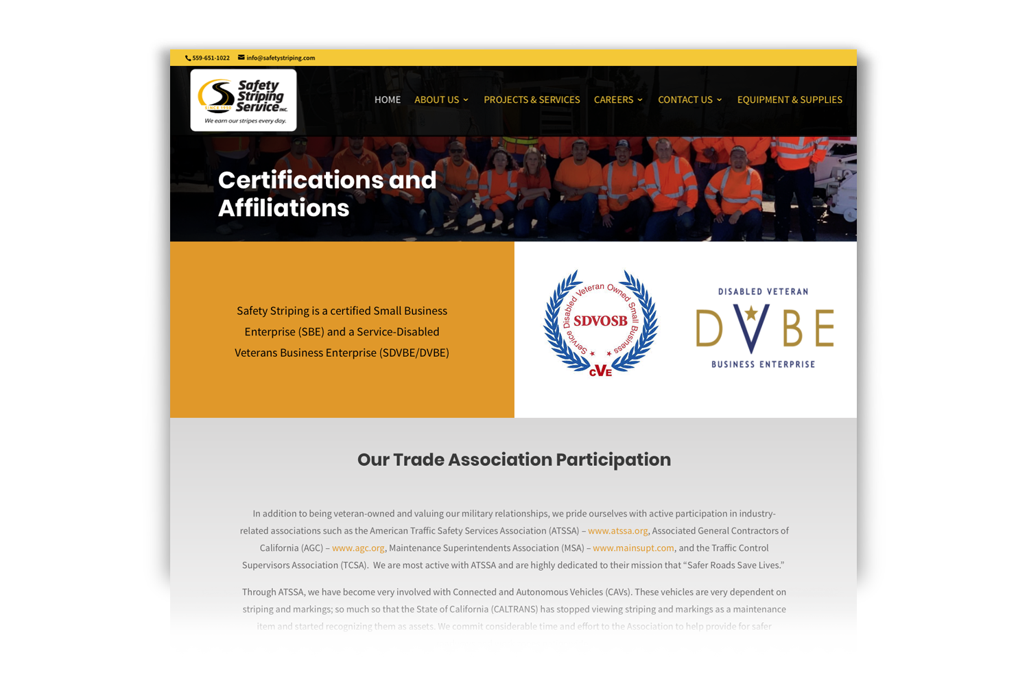 Safety Striping Service Website, Certification page designed by DMI Agency_branding update and new website