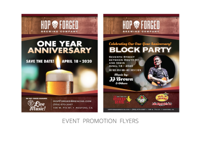 Hop Forged Brewing Company – Promotional_Event Flyers for One Year Anniversary and Block Party