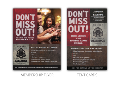 Hop Forged Brewing Company - membership flyer and tent cards