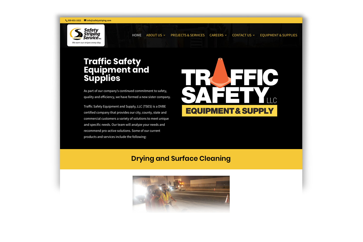Safety Striping Service Website, Equipment page by DMI Agency_branding update and new website