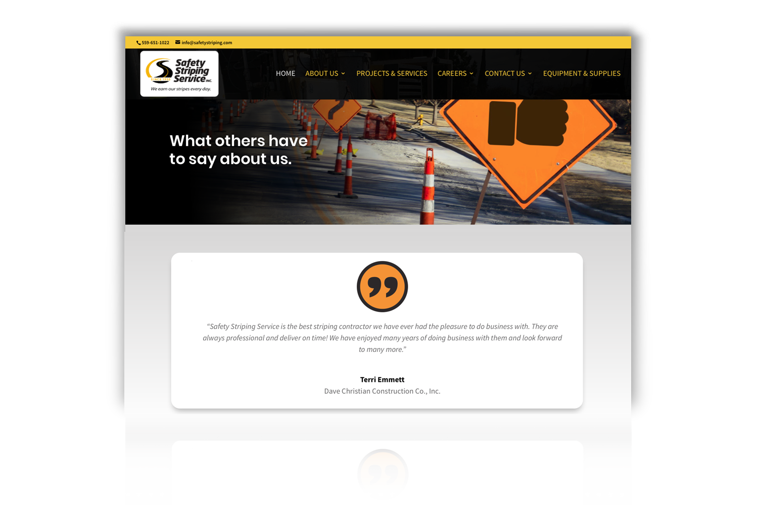 Safety Striping Service Website, Testimonial page by DMI Agency_branding update and new website