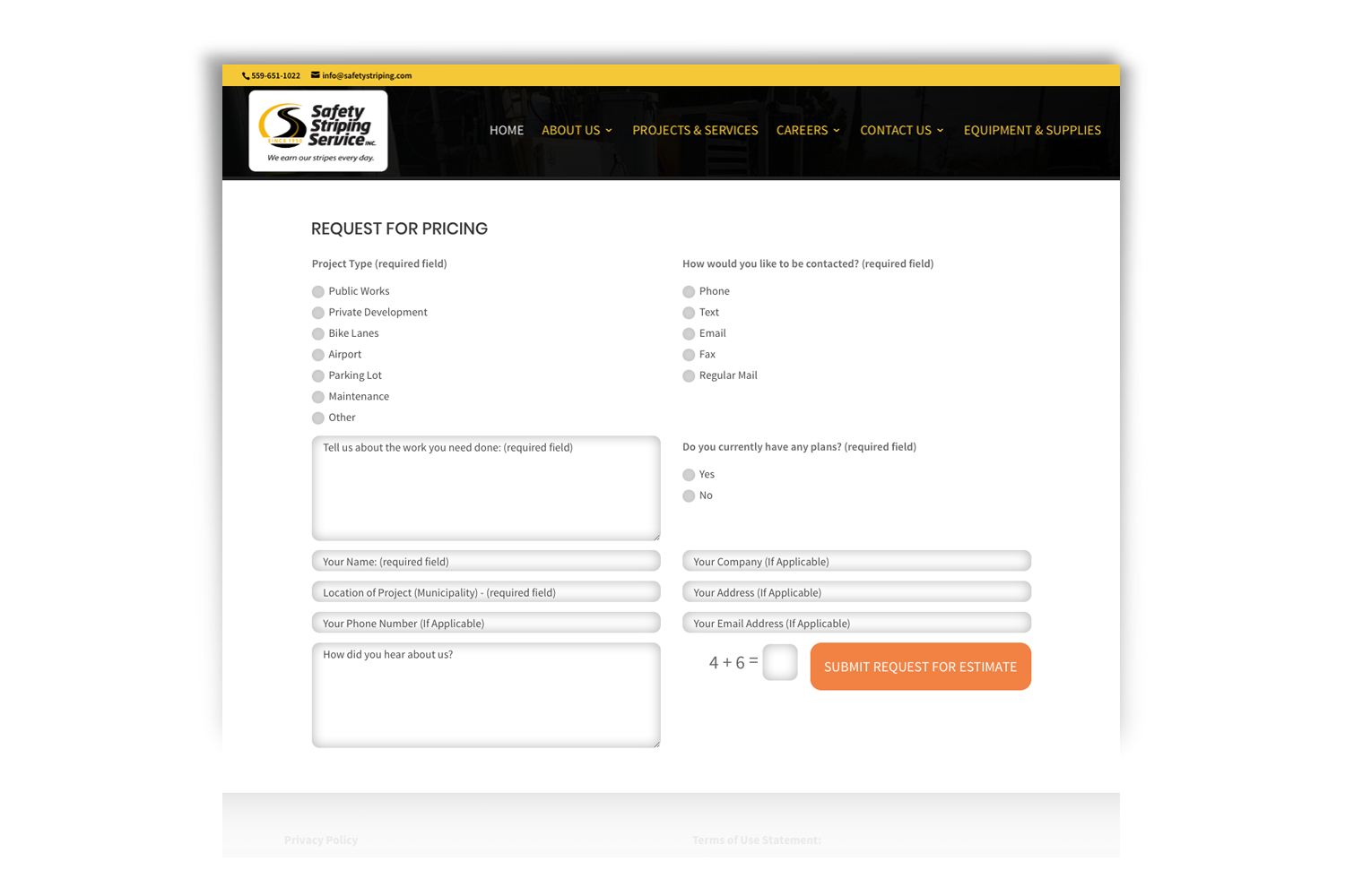 Safety Striping Service Website, contact form by DMI Agency_branding update and new website