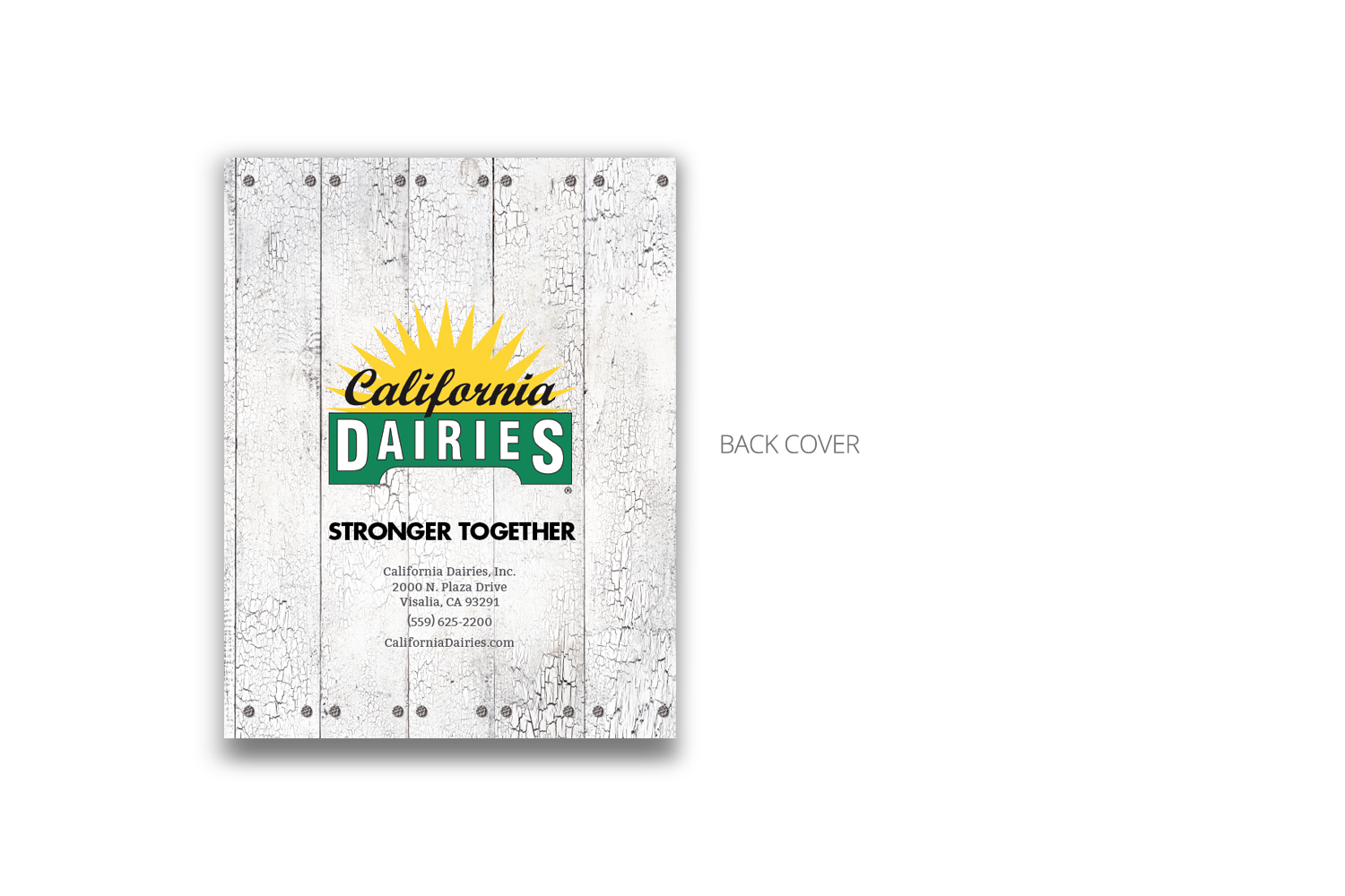 24-page corporate brochure for California Dairies - back cover