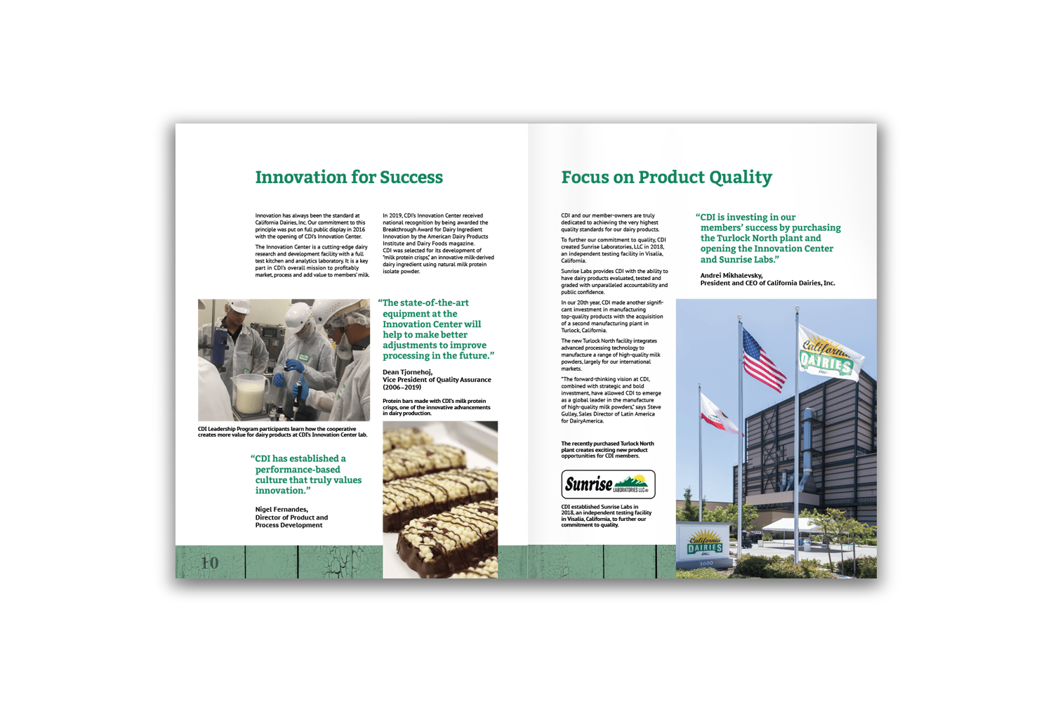 24-page corporate brochure for California Dairies - Pages 10 and 11