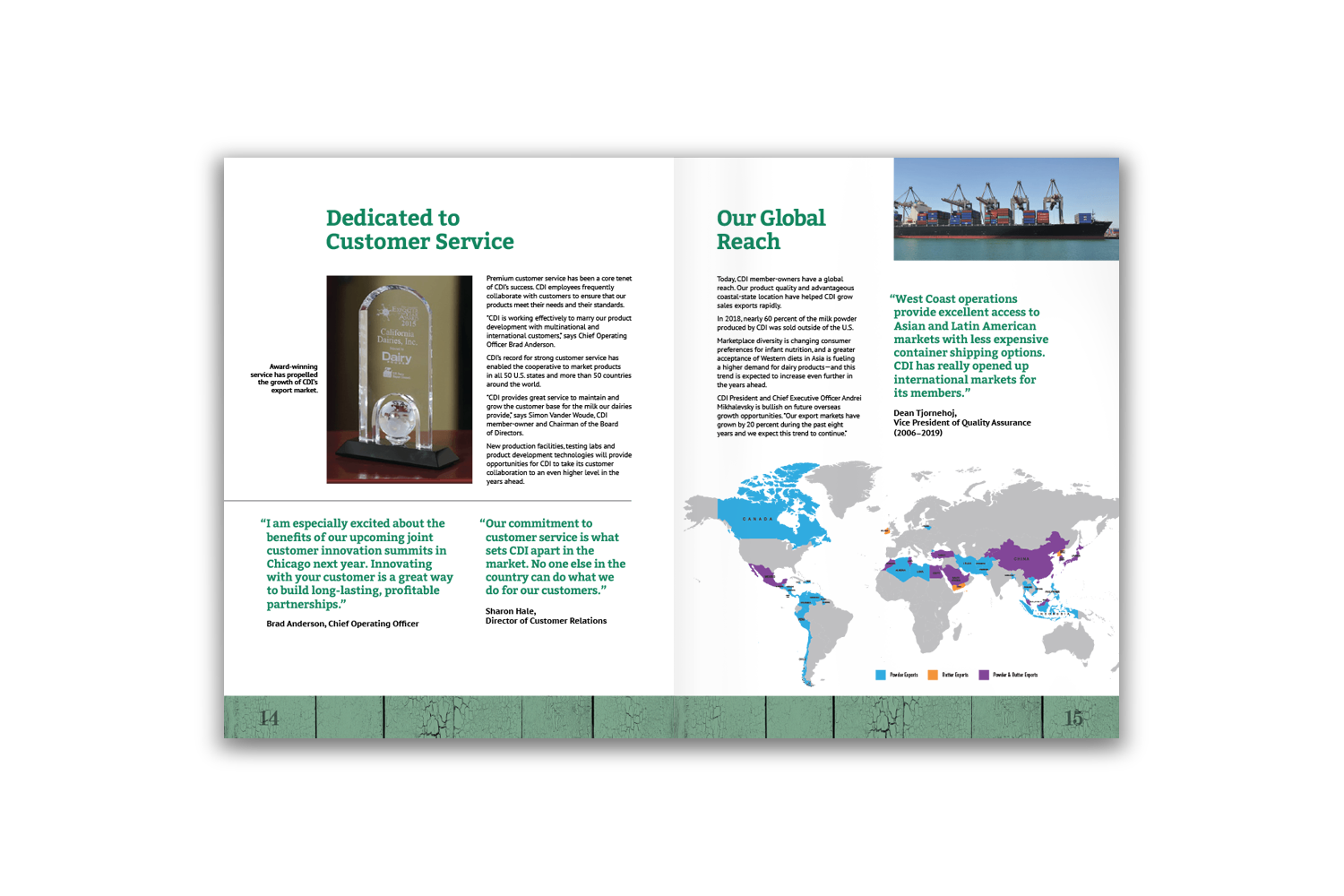 24-page corporate brochure for California Dairies - Pages 14 and 15