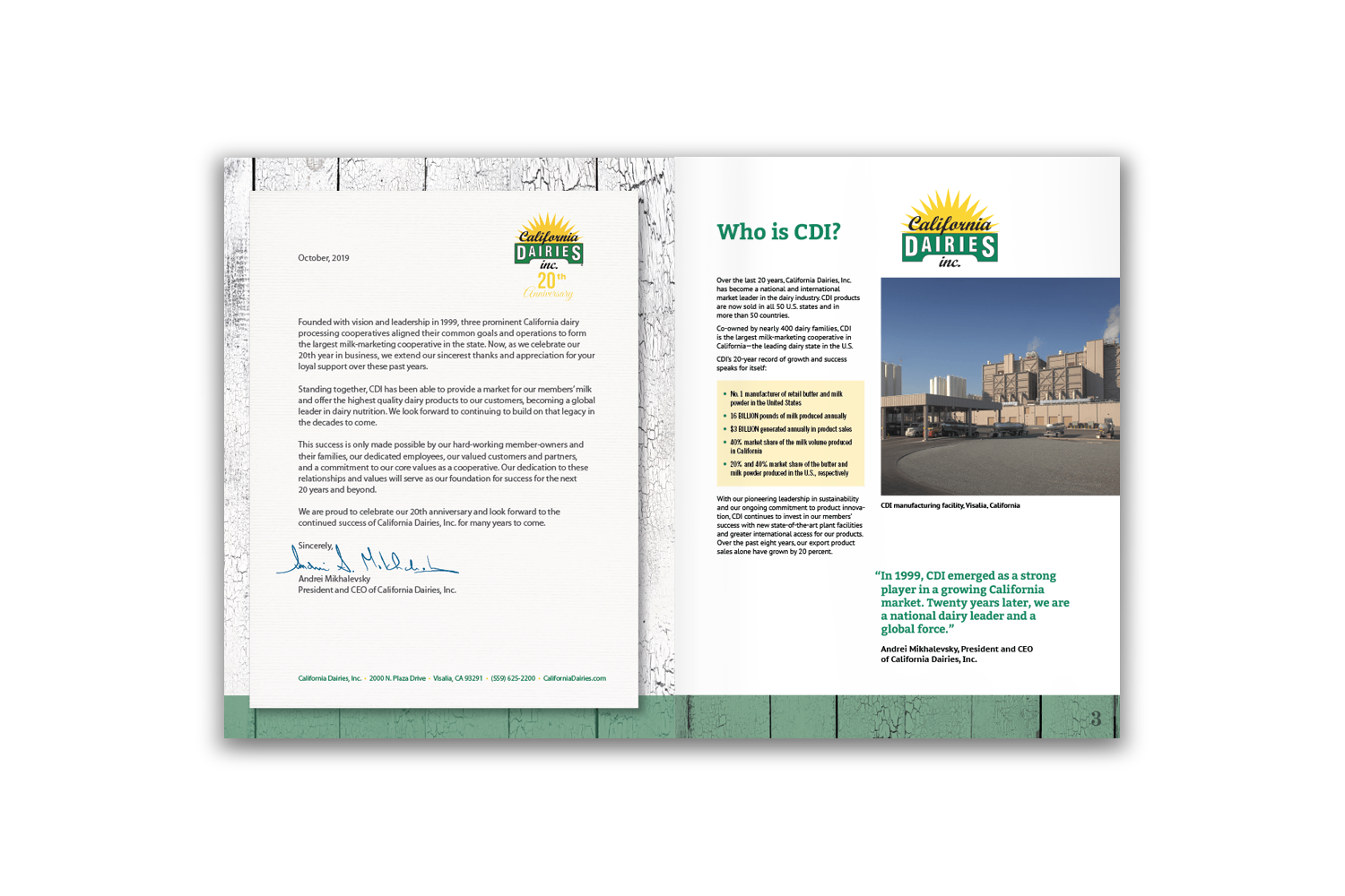 24-page corporate brochure for California Dairies - Pages 2 and 3