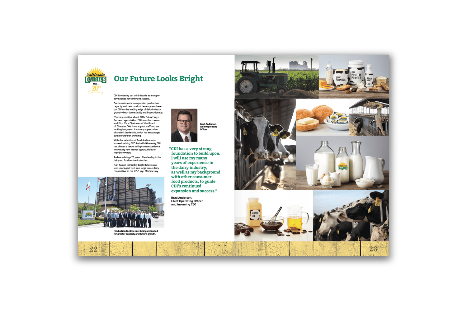 24-page corporate brochure for California Dairies - Pages 22 and 23