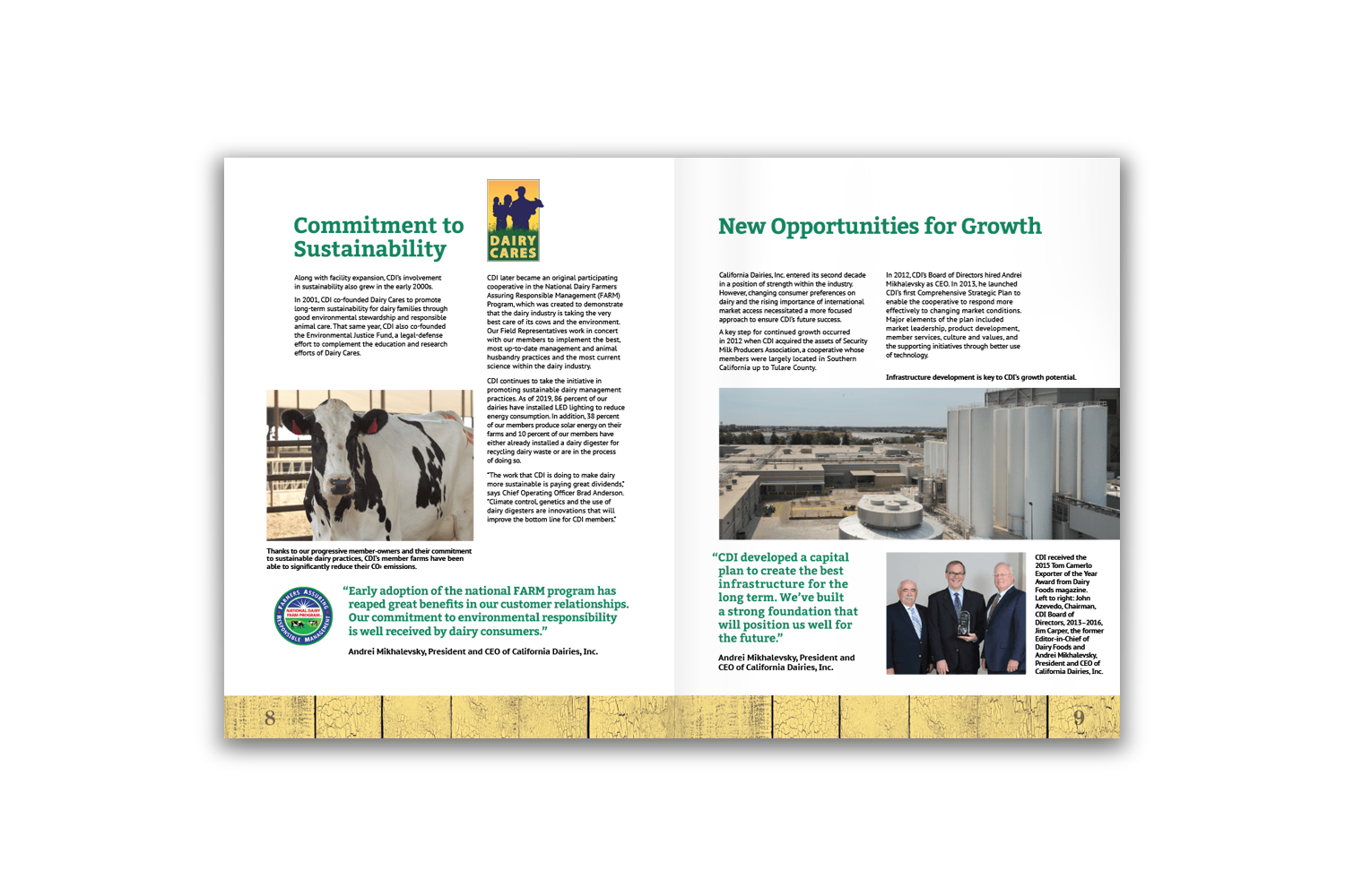 24-page corporate brochure for California Dairies - Pages 8 and 9