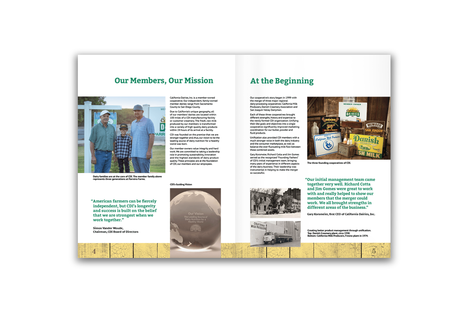 24-page corporate brochure for California Dairies - Pages 4 and 5