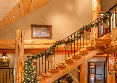 Muxlow Family Cabin, Kingsburg, Home Tour Photography, Christmas, Stairs
